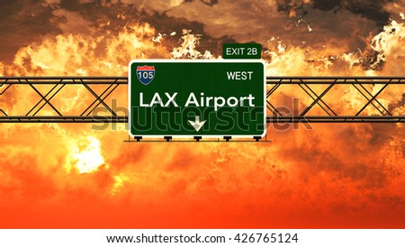 Passing under Los Angeles LAX USA Airport Highway Sign in a Beautiful Cloudy Sunset 3D Illustration - stock photo