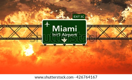 Passing under Miami USA Airport Highway Sign in a Beautiful Cloudy Sunset 3D Illustration