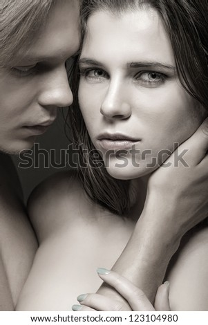 Passion couple. Black-and-white photo - stock photo