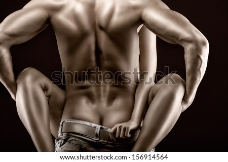 Passion couple on a black background