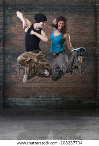 Passion dance couple jumping. - stock photo