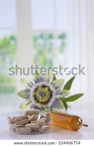 passion flower dietary supplement - stock photo