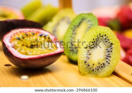 Passion fruit and kiwi - stock photo