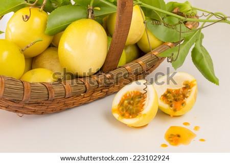 Passion fruit basket on white background - stock photo