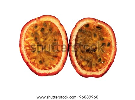 Passion fruit cut in half isolated on white background. - stock photo