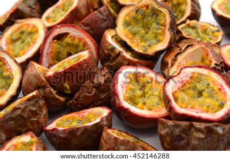 passion fruit cut out on a white background
