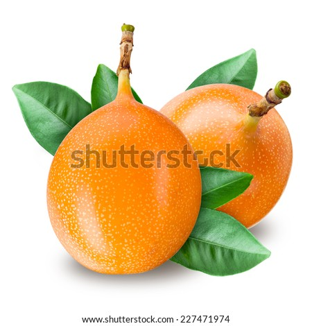 Passion fruit. Grenadilla isolated on white background - stock photo