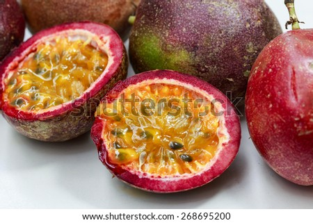 passion fruit in white background - stock photo