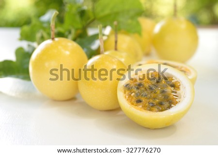 Passion fruit isolated on white table    - stock photo