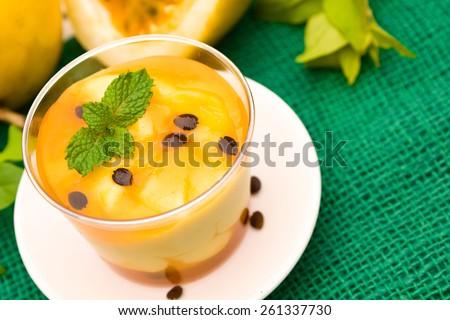 Passion fruit mousse - stock photo
