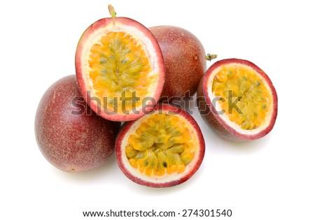 Passion fruit on white background. - stock photo