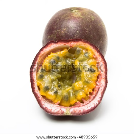 Passion Fruit one sliced isolated agaginst white background. - stock photo