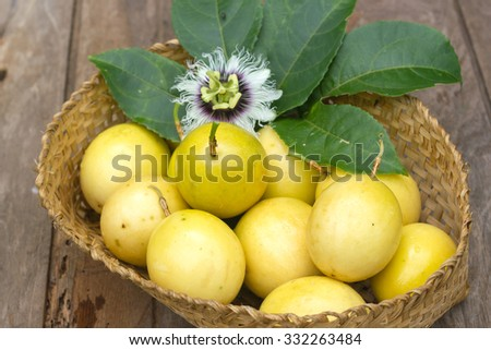 Passion fruits on natural  background. - stock photo