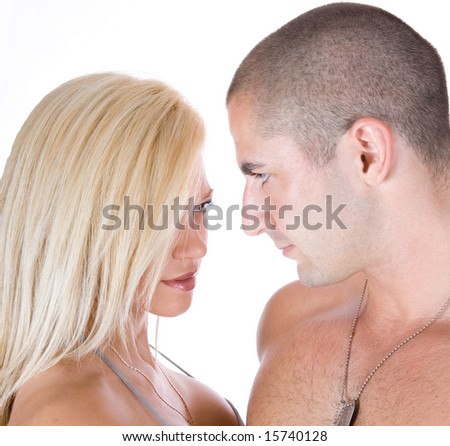 Passion look between a man and woman - stock photo