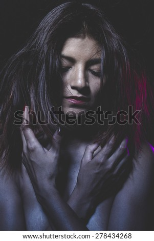 Passion, Love, latina naked young dancer with hair in the wind - stock photo