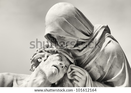 Passion of Christ in front of the Basilica Notre-Dame de la Garde in Marseille, France - stock photo