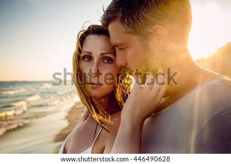 passionate boyfriend and girlfriend portrait - stock photo