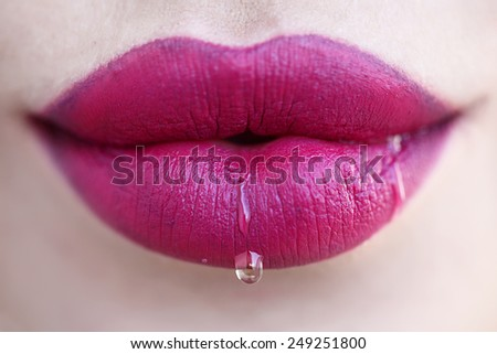 Passionate lips, macro photography. - stock photo