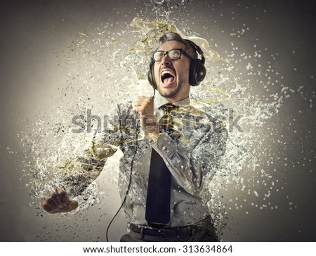 Passionate musician - stock photo