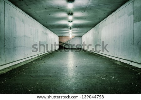 Passionate tunnel with the nobody.Selective focus in the middle of tunnel - stock photo