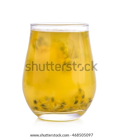 passionfruit mocktail isolated on white.