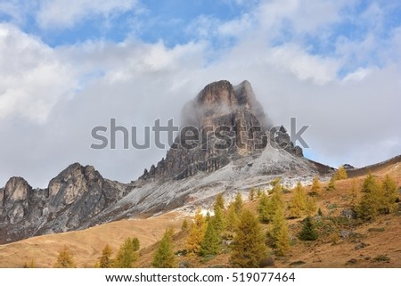Passo di Giau,a high mountain pass in the Dolomites, Belluno, Italy