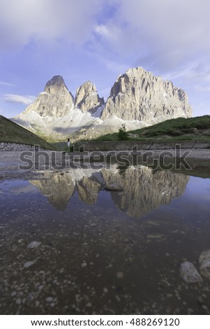 Passo Sella - Sellajoch and mountain Sassolungo - Langkofel, Alpe di Siusi, Dolomiti mountain - South Tyrol, Italy, Europe, UNESCO World Heritage Site