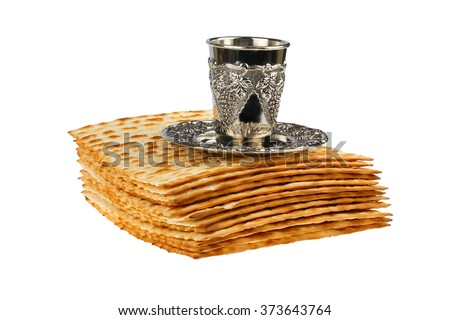 passover matzo and wine cup isolated on white background - stock photo