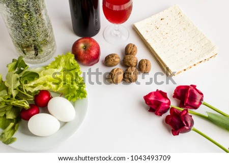 Passover Feast Unleavened Bread Symbolic Foods Stock Photo