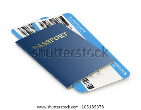 Passport and airline boarding pass tickets - stock photo
