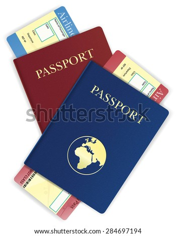 passport and airline ticket illustration isolated on white background - stock photo