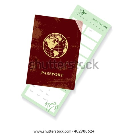 passport and boarding pass. Airplane ticket.