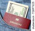 Passport and dollars - stock photo