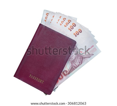 Passport and money on white background
