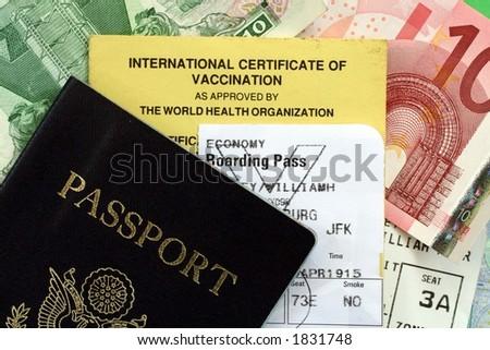Passport and Travel Documents - stock photo