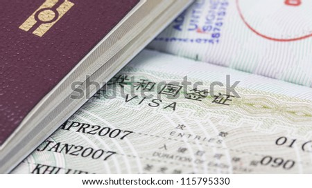 passport and visa - stock photo