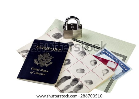 Passport, fingerprint card, driver's license, social security card and birth certificate isolated on white with locked padlock - stock photo