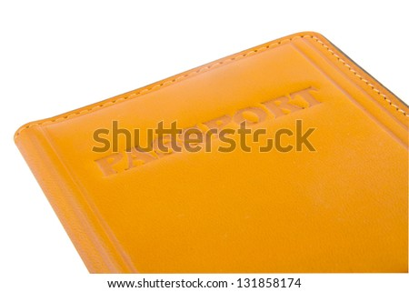 Passport  leather cover is isolated on white background - stock photo