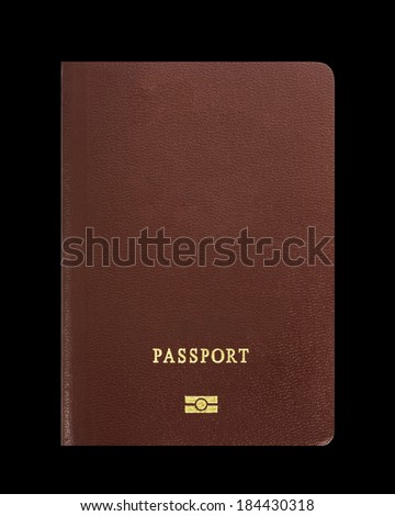 Passport on black background, with clipping path  - stock photo