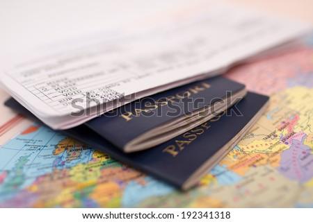 Passport on map - stock photo
