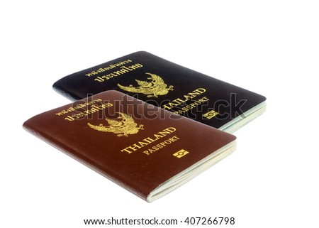 Passport on the white background