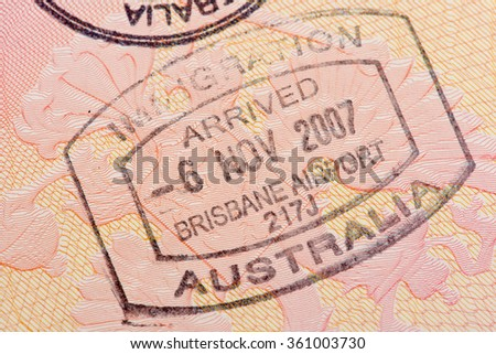 Passport page with the immigration control of Australia stamp.  - stock photo