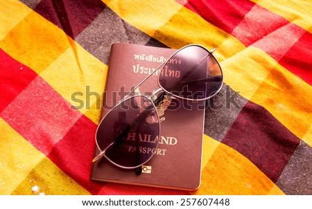 Passport pattern on the cloth Thailand. - stock photo