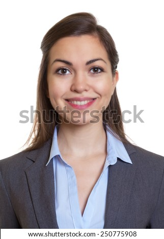 Passport picture businesswoman with brown hair - stock photo