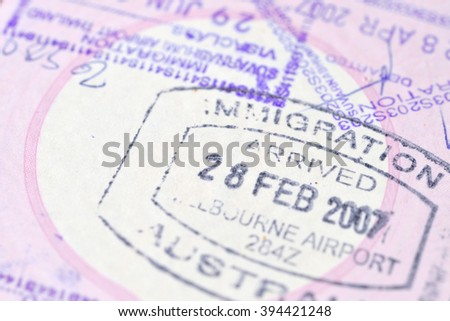 Passport stamp background - Immigration (selective focus) - stock photo