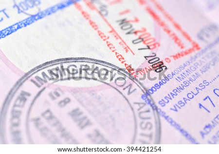 Passport stamp background - Immigration (selective focus) - stock photo