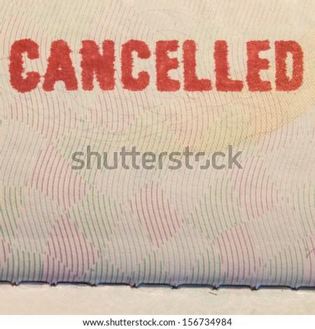 Passport Stamp Cancelled - stock photo