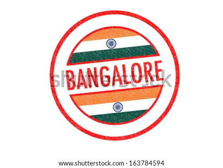 Passport-style BANGALORE (India) rubber stamp over a white background. - stock photo