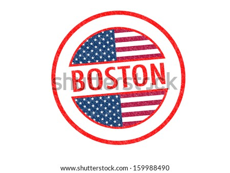 Passport-style BOSTON rubber stamp over a white background. - stock photo