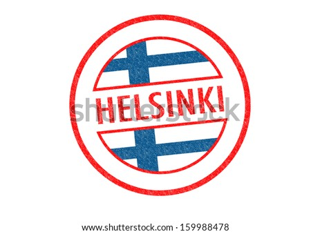 Passport-style HELSINKI rubber stamp over a white background. - stock photo